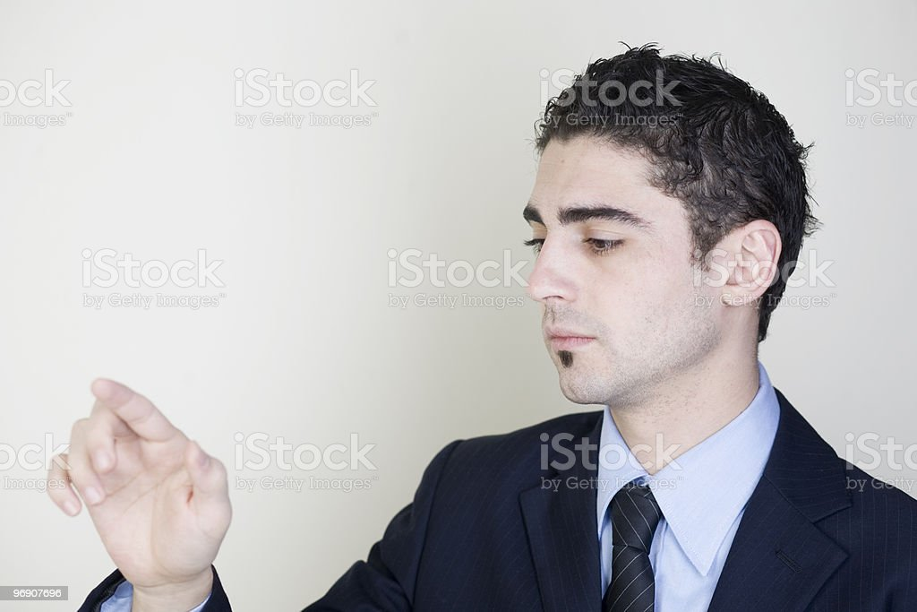 businessman touching a virtual cyberspace screen royalty-free stock photo