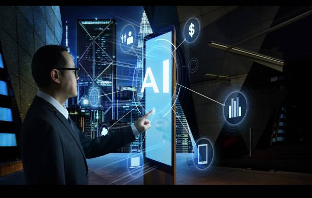 homme d'affaires touchant le mot «ai» sur l'écran du kiosque numérique avec fintech infographique. concept d'affaires hi-tech. - business malaysia photos et images de collection