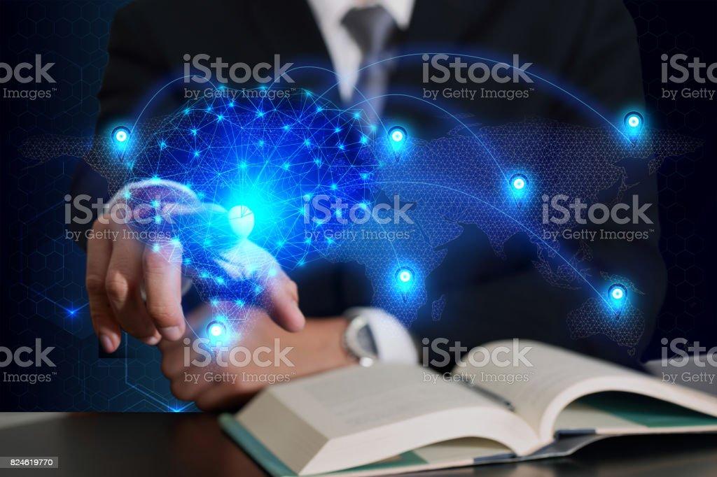 Businessman touching and light blue polygon brain networking world map stock photo