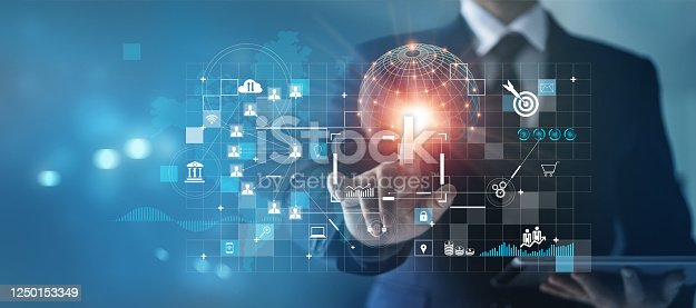 Businessman touching business global network and analyzing sales data, Customer, Finance and economic, Strategy and planning of growth on success.
