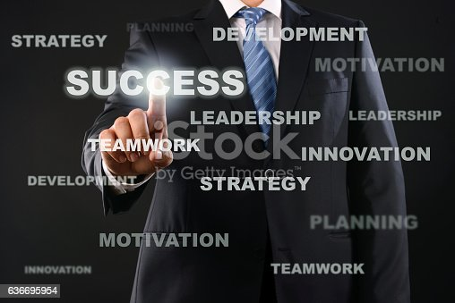 Businessman touching business words and choosing success on virtual screen.