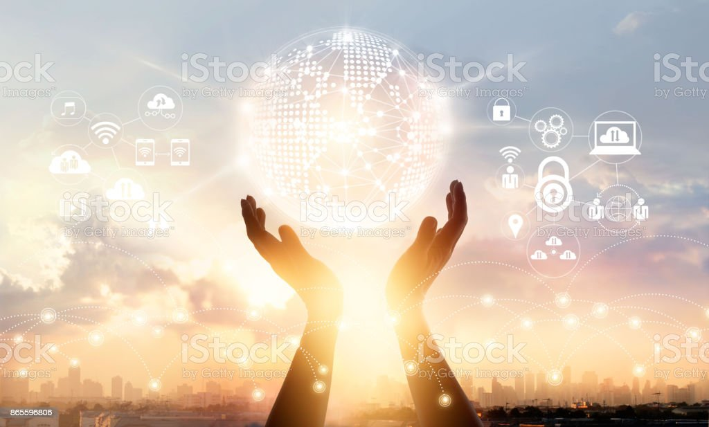 Businessman touching circle global network connection and data exchanges worldwide on city sunset background, communication and technology concept stock photo
