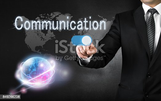 istock Businessman touching communication button 849266208