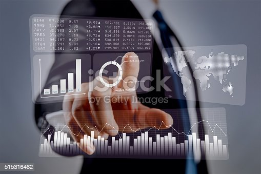 istock Businessman touching financial dashboard 515316462