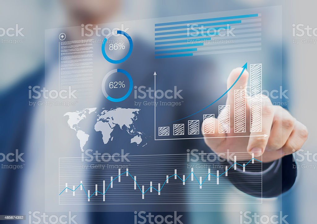 Businessman touching financial dashboard with kpi stock photo