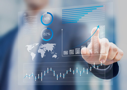 Businessman Touching Financial Dashboard With Kpi Stock Photo - Download Image Now