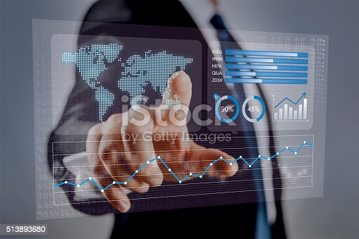 istock Businessman touching financial dashboard with KPI 513893680