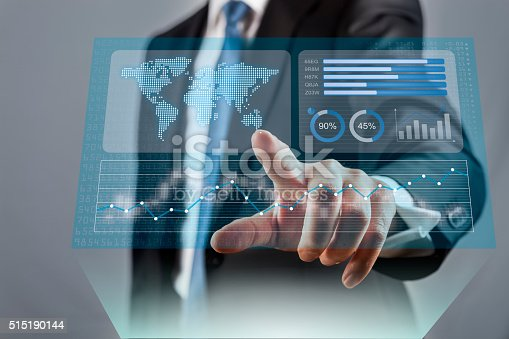 istock Businessman touching financial dashboard with KPI 515190144