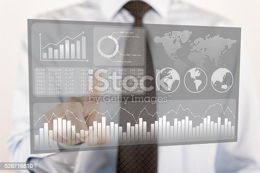 istock Businessman touching financial dashboard with KPI 526716810