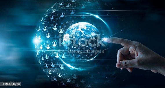istock Businessman touching global network and data customer connection on space background 1150200784