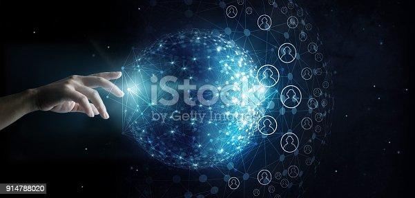 istock Businessman touching global network and data customer connection on space background 914788020