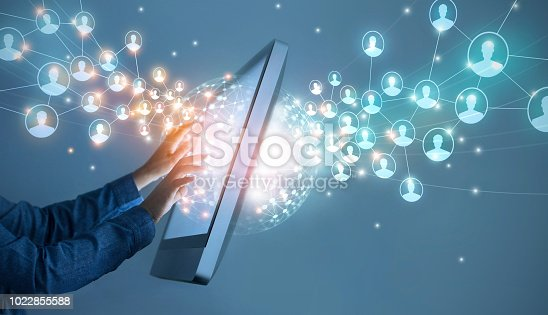istock Businessman touching global structure networking and data exchanges customer connection on interface digital screen, technology business and communication. 1022855588