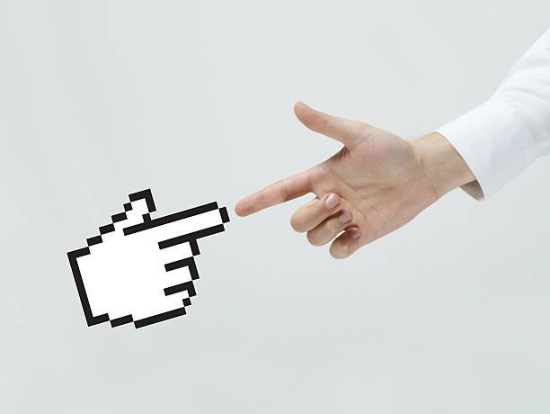 empresario tocando el icono de mano cursor - website design fotografías e imágenes de stock