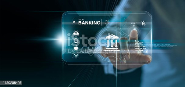 istock Businessman touching icon online banking and icon network connection, online payments, shopping and digital technology business on virtual screen dark blue background 1150208425