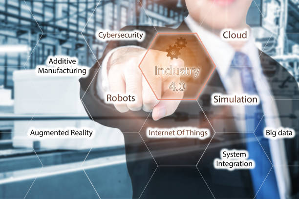 businessman touching industry 4.0 in virtual interface screen. - computer aided manufacturing stock photos and pictures
