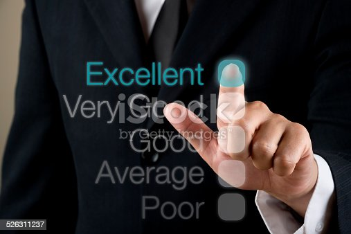 Businessman touching performance visual screen close up