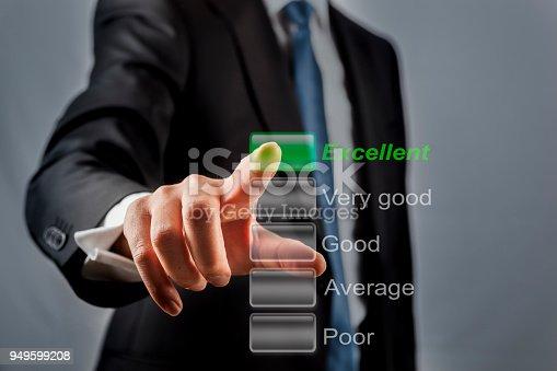 Businessman touching performance visual screen