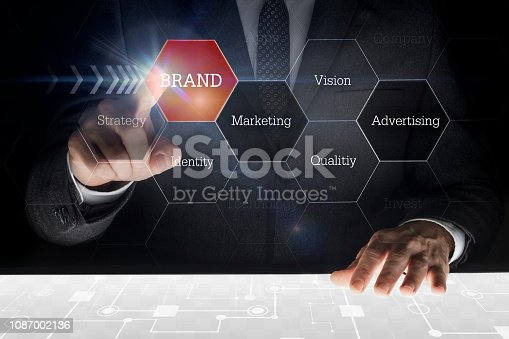 istock Businessman touching screen with caption
