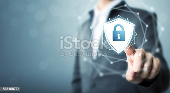 istock Businessman touching shield protect icon, Concept cyber security safe your data 873468774