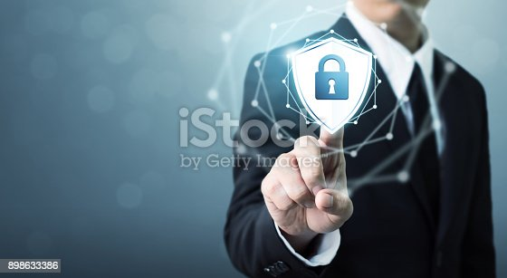 istock Businessman touching shield protect icon, Concept cyber security safe your data 898633386