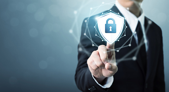 Businessman Touching Shield Protect Icon Concept Cyber Security Safe Your Data Stock Photo - Download Image Now