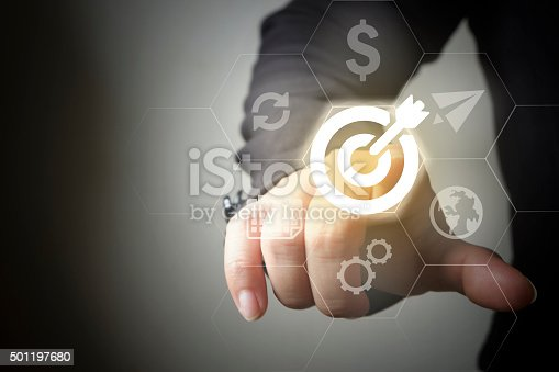 Businessman Touching social media business  icon , business concept , business idea