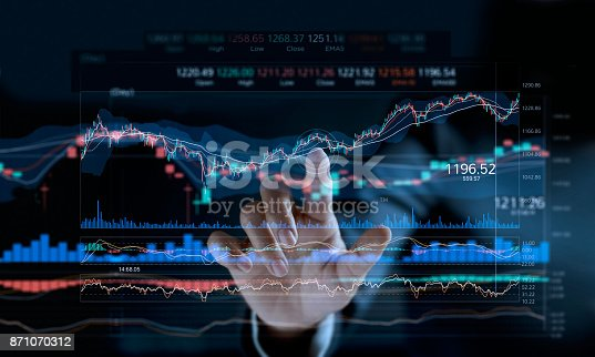 istock Businessman touching stock market graph on a virtual screen display. 871070312