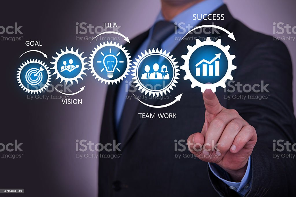 Businessman Touching Success Concept stock photo