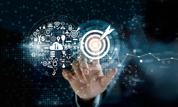 businessman touching target with icon digital marketing on network connection background. business innovation technology concept - digital marketing stock photos and pictures