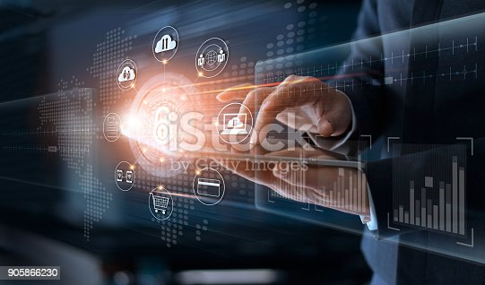 Businessman touching technology global networking security information safety and encryption with icon on virtual screen , Data protection and Cyber security concept