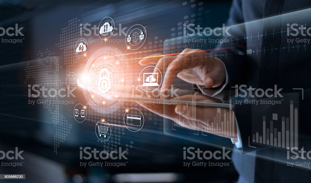 Businessman touching technology global networking security information safety and encryption with icon on virtual screen , Data protection and Cyber security concept stock photo