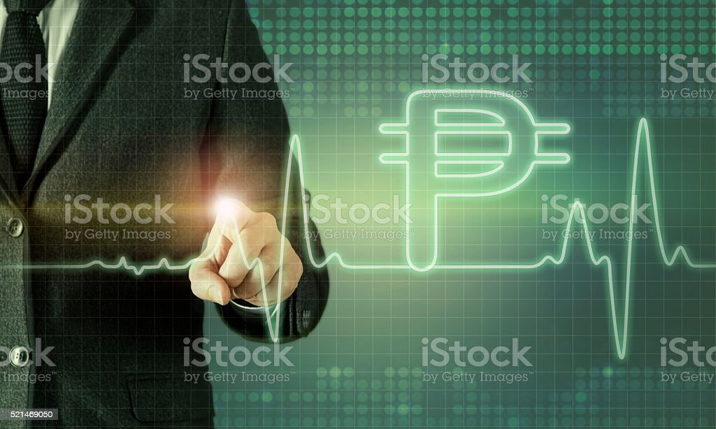 Businessman touching the screen about currency chart stock photo