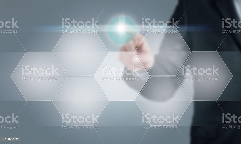 Businessman touching the screen stock photo