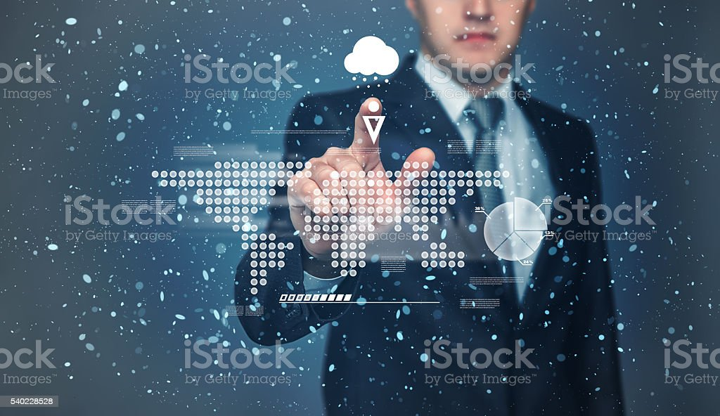 Businessman touching touch screen with projection of graphic world map stock photo
