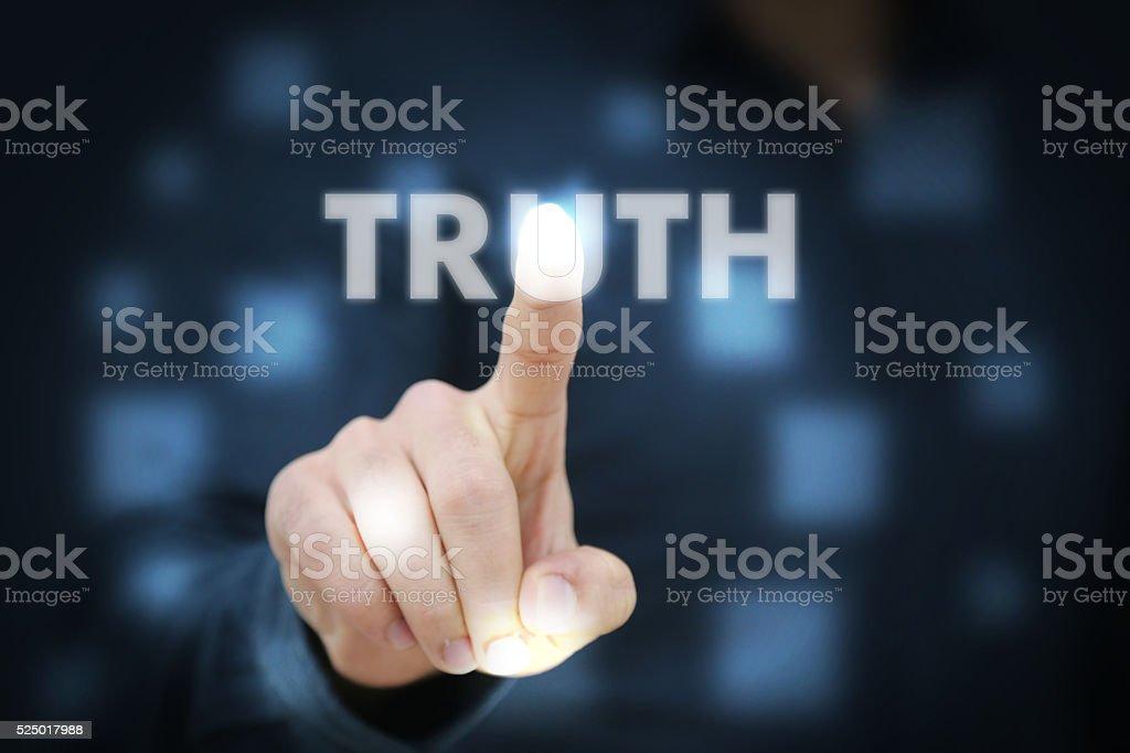 Businessman touching Truth stock photo