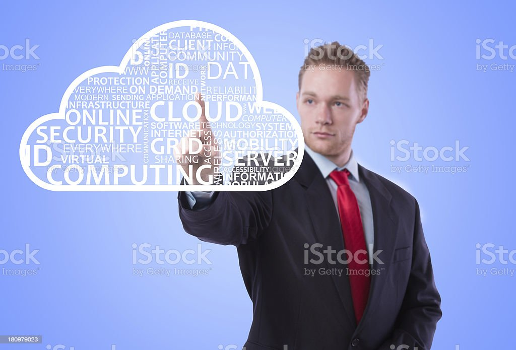 Businessman touching virtual cloud royalty-free stock photo