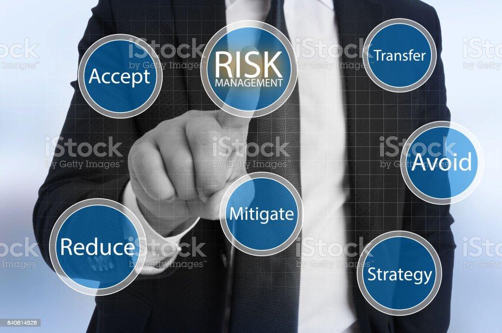 Businessman touching virtual risk management stock photo