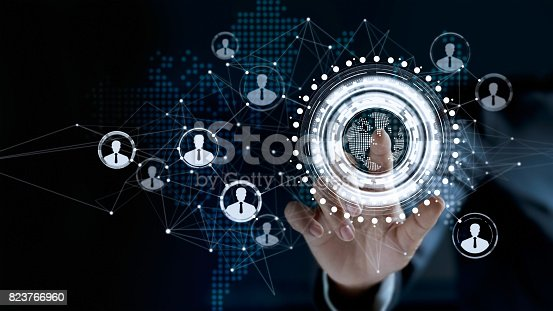 istock Businessman touching virtual screen a global customer network connection 823766960