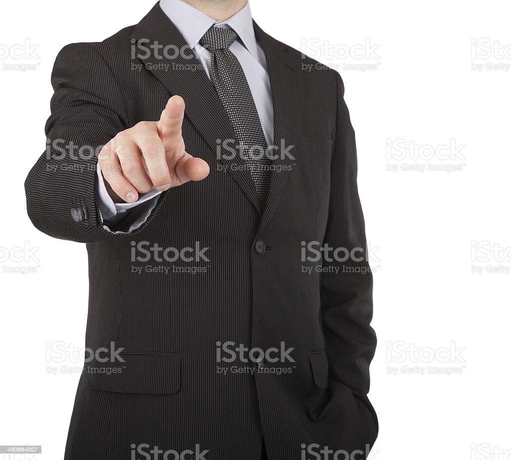 Businessman touching virtual screen or button stock photo