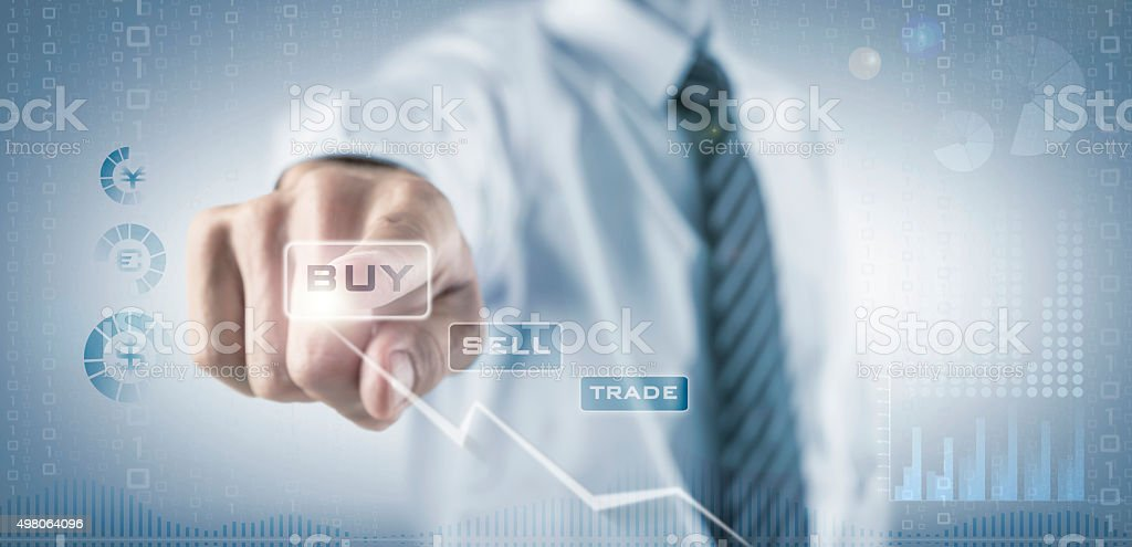 Businessman trading currency on the Forex Stock Exchange stock photo