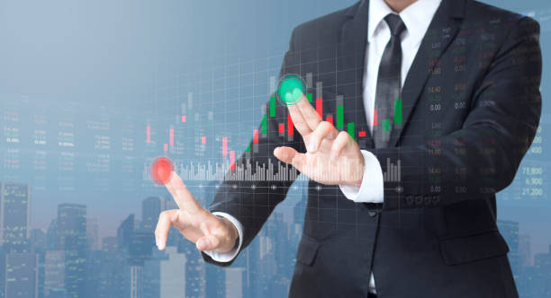 businessman trading stock market on digital screen stock photo