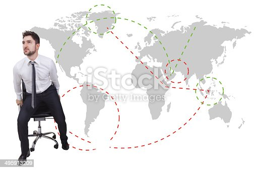 businessman traveler with chair on a map background