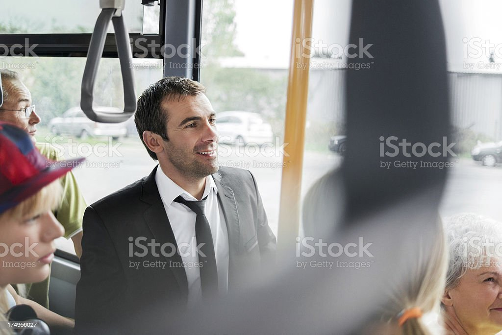 Businessman travelling by bus. royalty-free stock photo