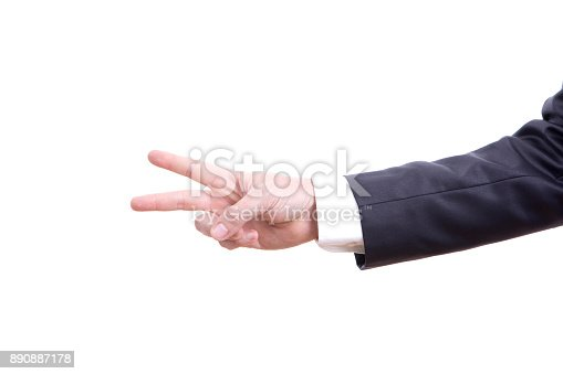 istock Businessman Two Finger 890887178