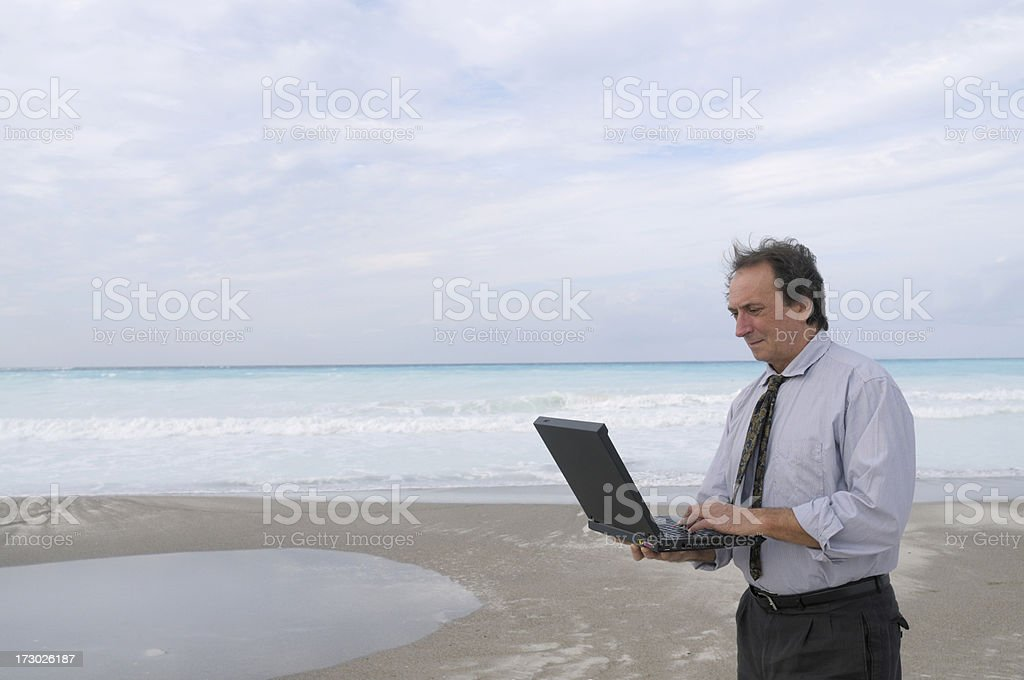 Businessman Typing on the Beach royalty-free stock photo