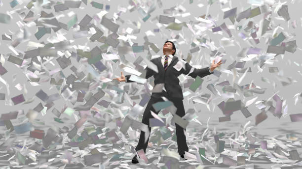 businessman under money fall - hoarding stock photos and pictures