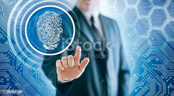 Businessman unlocking tapping button with fingerprint in virtual space