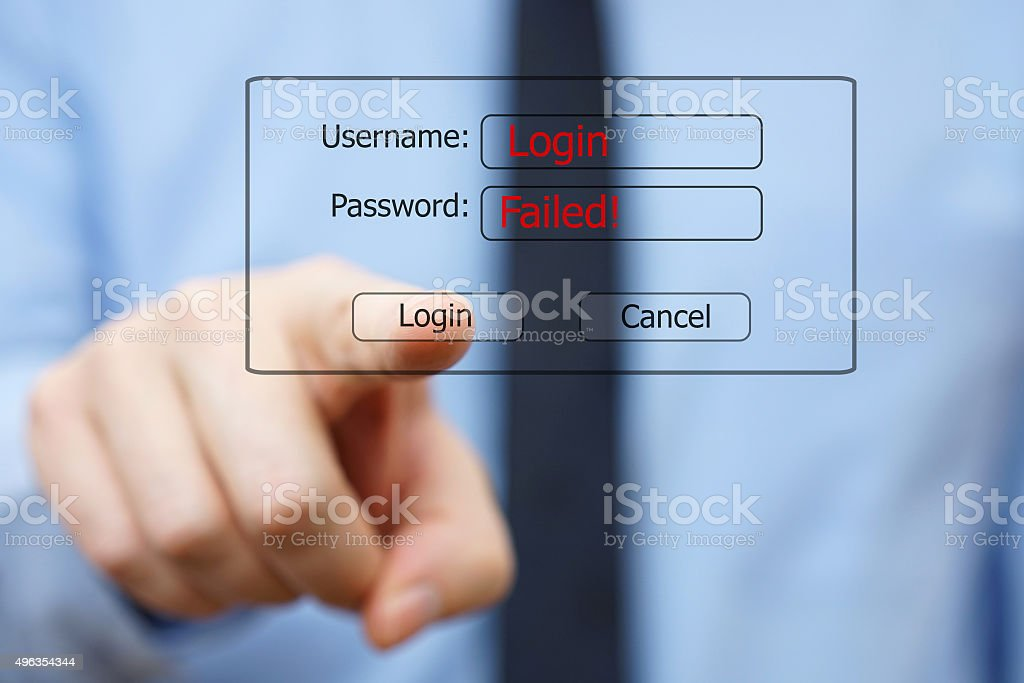 businessman unsuccessfully tries to log into the system stock photo