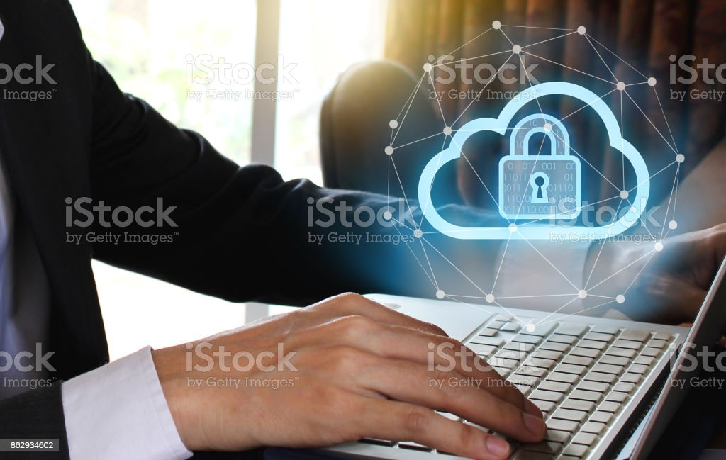 Businessman use Laptop and smartphone with padlock and cloud technology background, Cyber Security Data Protection Business Technology Privacy concept, Internet Concept of global business stock photo