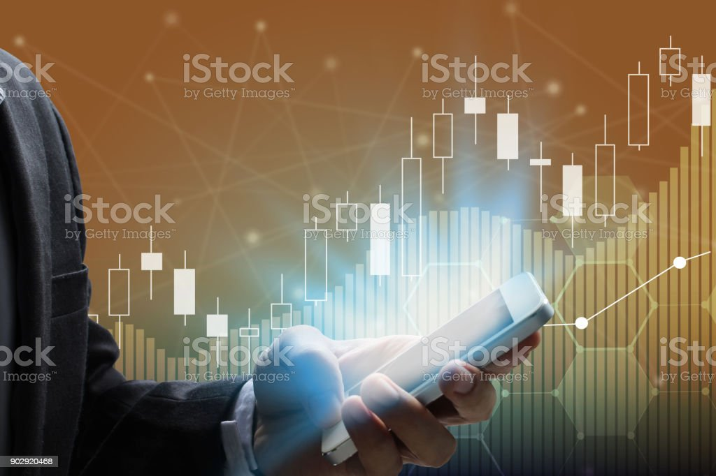 businessman use smartphone stock photo